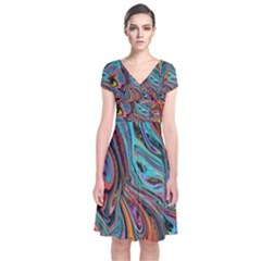 Brilliant Abstract In Blue, Orange, Purple, And Lime Green  Short Sleeve Front Wrap Dress
