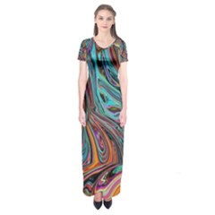 Brilliant Abstract In Blue, Orange, Purple, And Lime Green  Short Sleeve Maxi Dress