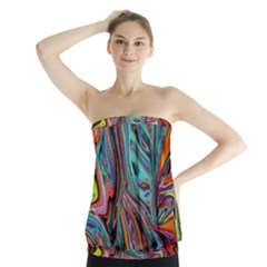 Brilliant Abstract in Blue, Orange, Purple, and Lime-Green  Strapless Top