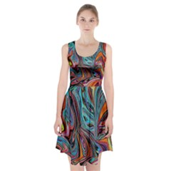 Brilliant Abstract In Blue, Orange, Purple, And Lime Green  Racerback Midi Dress