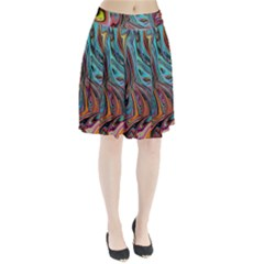 Brilliant Abstract in Blue, Orange, Purple, and Lime-Green  Pleated Skirt