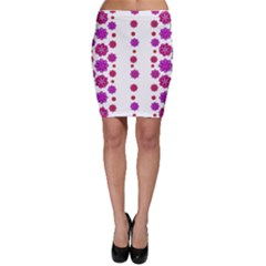 Vertical Stripes Floral Pattern Collage Bodycon Skirt