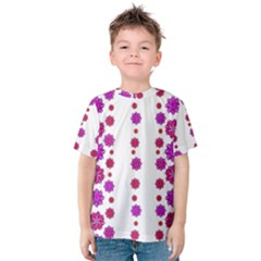 Vertical Stripes Floral Pattern Collage Kids  Cotton Tee