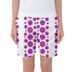 Vertical Stripes Floral Pattern Collage Women s Basketball Shorts