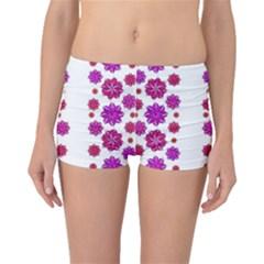 Vertical Stripes Floral Pattern Collage Boyleg Bikini Bottoms