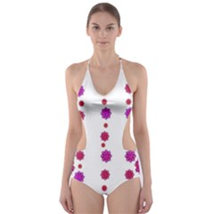 Vertical Stripes Floral Pattern Collage Cut-Out One Piece Swimsuit