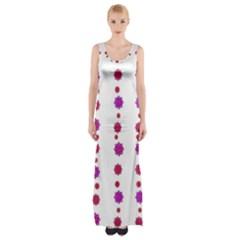 Vertical Stripes Floral Pattern Collage Maxi Thigh Split Dress