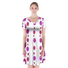 Vertical Stripes Floral Pattern Collage Short Sleeve V-neck Flare Dress