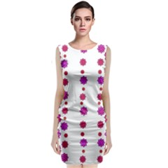 Vertical Stripes Floral Pattern Collage Classic Sleeveless Midi Dress