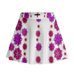 Vertical Stripes Floral Pattern Collage Mini Flare Skirt