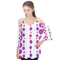 Vertical Stripes Floral Pattern Collage Flutter Tees
