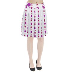 Vertical Stripes Floral Pattern Collage Pleated Skirt