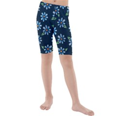 Retro Blue Daisy Flowers Pattern Kids  Mid Length Swim Shorts