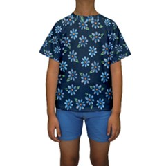 Retro Blue Daisy Flowers Pattern Kids  Short Sleeve Swimwear