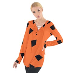 Orange Black 22 Women s Tie Up Tee