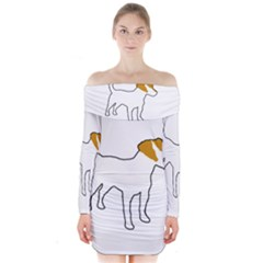 Jack Russell Terrier Color Silo Long Sleeve Off Shoulder Dress