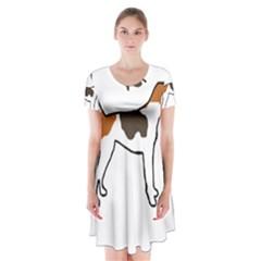 Treeing Walker Coonhound Silo Color Short Sleeve V-neck Flare Dress