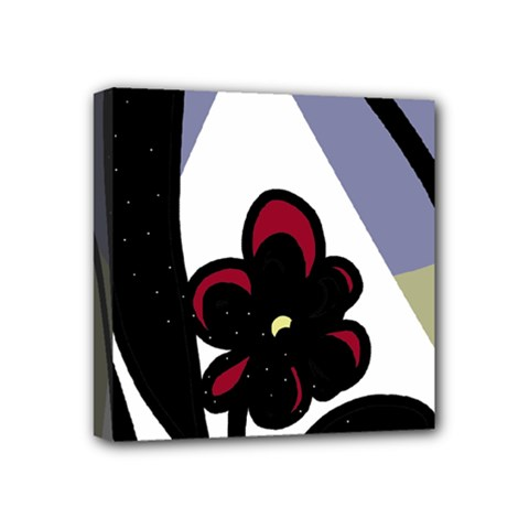 Black flower Mini Canvas 4  x 4