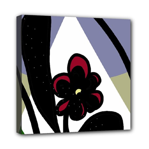 Black flower Mini Canvas 8  x 8