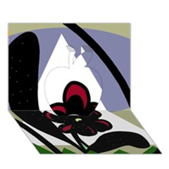 Black Flower Apple 3d Greeting Card (7x5)