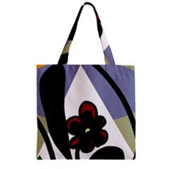 Black flower Zipper Grocery Tote Bag