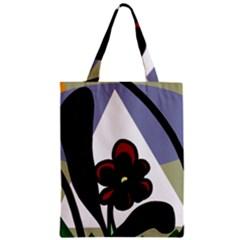 Black flower Zipper Classic Tote Bag