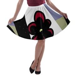 Black flower A-line Skater Skirt