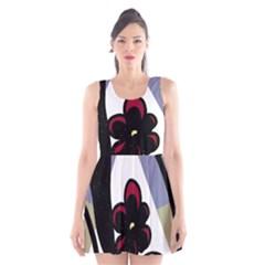 Black flower Scoop Neck Skater Dress