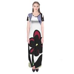Black flower Short Sleeve Maxi Dress