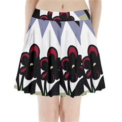 Black flower Pleated Mini Skirt