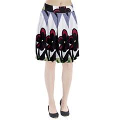Black Flower Pleated Skirt