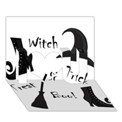 Halloween witch I Love You 3D Greeting Card (7x5)