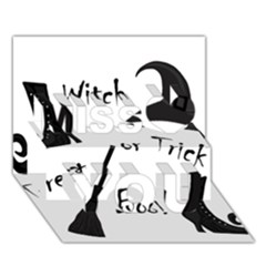 Halloween witch Miss You 3D Greeting Card (7x5)