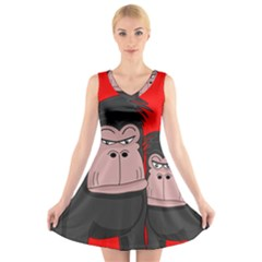 Gorillas V-Neck Sleeveless Skater Dress