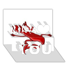 Red lizard Miss You 3D Greeting Card (7x5)