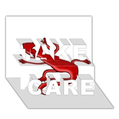 Red lizard TAKE CARE 3D Greeting Card (7x5)