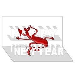 Red lizard Happy New Year 3D Greeting Card (8x4)