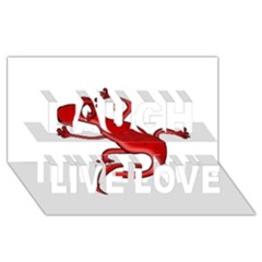 Red lizard Laugh Live Love 3D Greeting Card (8x4)