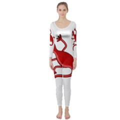 Red lizard Long Sleeve Catsuit