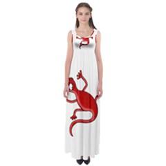 Red lizard Empire Waist Maxi Dress