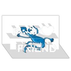 Blue lizard Best Friends 3D Greeting Card (8x4)