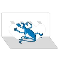 Blue lizard Twin Hearts 3D Greeting Card (8x4)