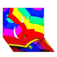 Umbrella Color Red Yellow Green Blue Purple Apple 3D Greeting Card (7x5)