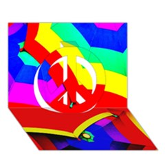 Umbrella Color Red Yellow Green Blue Purple Peace Sign 3D Greeting Card (7x5)