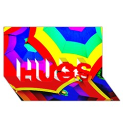 Umbrella Color Red Yellow Green Blue Purple HUGS 3D Greeting Card (8x4)