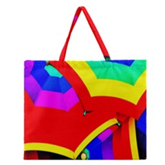 Umbrella Color Red Yellow Green Blue Purple Zipper Large Tote Bag