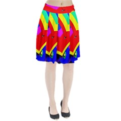 Umbrella Color Red Yellow Green Blue Purple Pleated Skirt