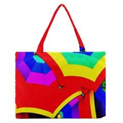 Umbrella Color Red Yellow Green Blue Purple Medium Zipper Tote Bag