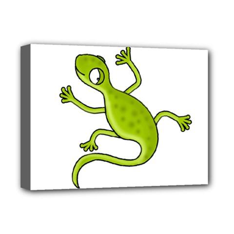 Green lizard Deluxe Canvas 16  x 12