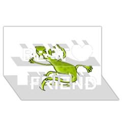Green lizard Best Friends 3D Greeting Card (8x4)